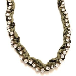 J. CREW olive ribbon wrapped crystal necklace 💎